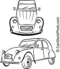 old car - old line of cars - old school car, vintage design