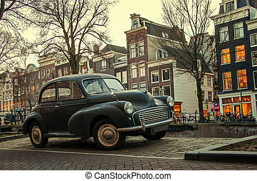 old car on the street in Amsterdam