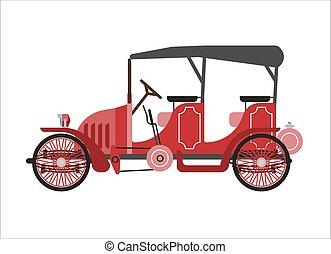 Old car or vintage retro collector coach cab wehicle vector...