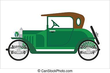 Old car or vintage retro collector green auto vehicle vector...