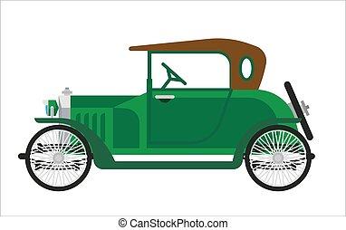Old car or vintage retro collector green auto vehicle vector...