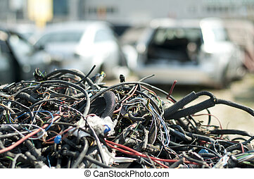 Old car parts and cables in automorgue - Old car parts and...