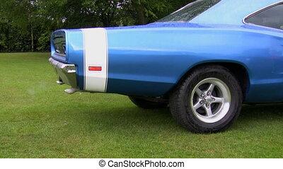 Old car polluting air