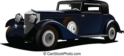 Old  car. Sedan. Vector illustrati