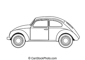 Old Muscle Car Vector Outline Colored Sketch Hand Drawn Illustration
