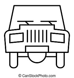 Old car thin line icon. Transport vector illustration isolated on white. Automobile outline style design, designed for web and app. Eps 10.