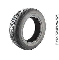 Old car tire front side on white background.