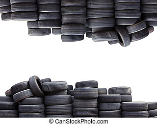 Old car tires isolated on white background