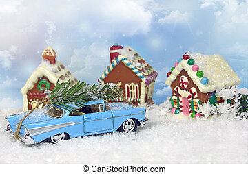 old car with Christmas tree