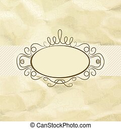 Old card design, yellow vintage frame. EPS 8