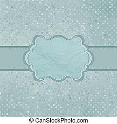 Old card design,blue vintage frame. EPS 8