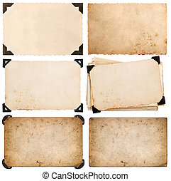 old cardboard with corner, photo card, aged paper isolated