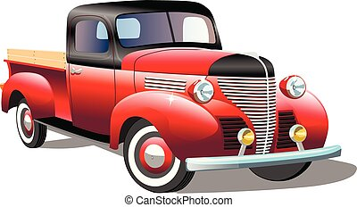 Old cargo retro car on white background, vector illustration
