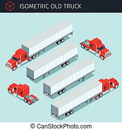 old cargo truck - Isometric heavy american cargo truck with...