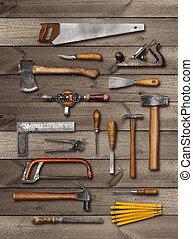 Old carpenter DIY hand tools on wood
