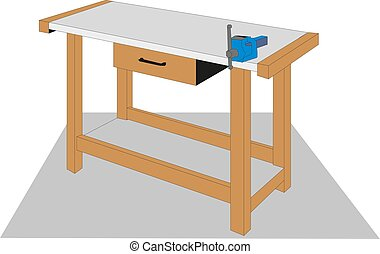 Old carpenter wooden work bench isolated on a white background Vector illustration.