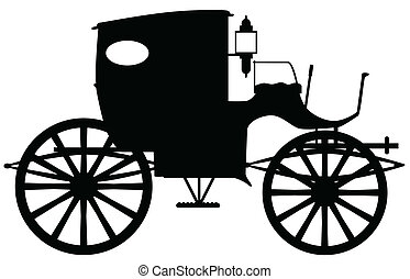 Old Carriage Silhouette - A typical Victorian or Georgian...