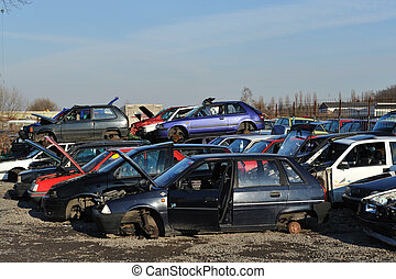 old cars on the scrapyard
