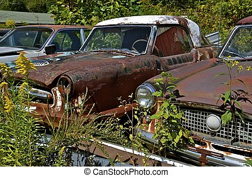 Old cars packed in a junk yard