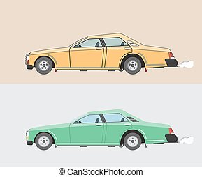 Old cars, yellow and green