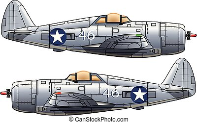 Old cartoon military plane on white background, vector illustration