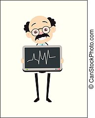 Old Cartoon Pathologist Showing Graph Tablet Vector