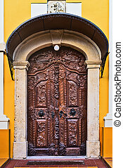 Old carved wooden church door