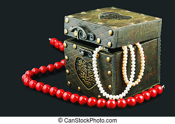 old casket with jewelry