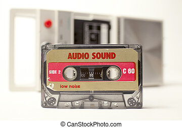 old cassette - an old audio cassette in front of a retro...