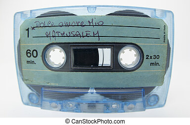 old cassette - an old audio cassette shot with fisheye lens