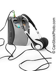Old cassette player and headphones