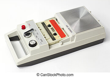 old cassette - an old audio cassette in a retro tape player