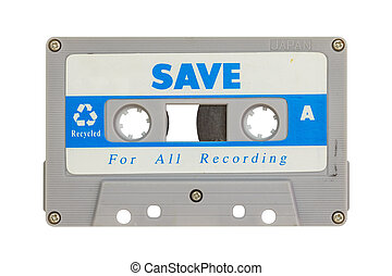 Old cassette tape isolated on white background