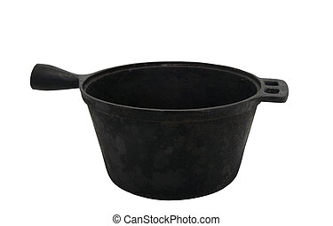 Old cast iron pot isolated on white background
