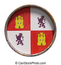Old Castilla Leon flag - 3d rendering of an autonomous...