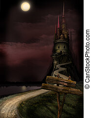 Old Castle and Moon - Another Night landscape. Another tower...