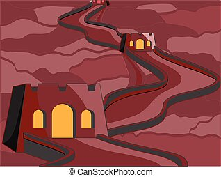 Old Castle at Night Vector