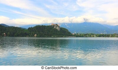 Old Castle - Castle Bled on top of a cliff overhead Lake...