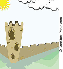 old castle - vector cartoon castle