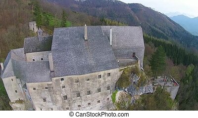 Old castle from middle age in Austria. aerial view up to the...