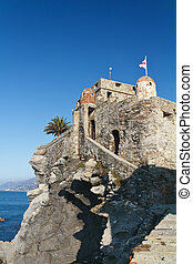 Old castle in Camogli, Italy - Medioeval castle in Camogli,...