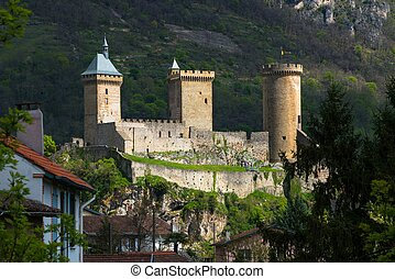 Old castle in Foix town in France