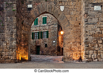 Old castle Montepulciano in Tuscany, Italy