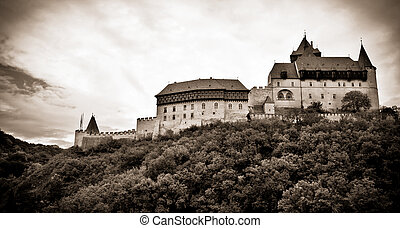 Old castle on the hill. Grayscale toned image