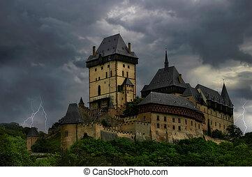 Old Castle. Thunderstorm. - Old castle in Karlstejn, Czech...