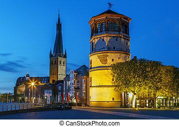 Old Castle Tower and st Lambertus church, Dusseldorf