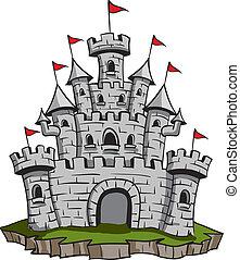 Old Castle - Old medieval stone castle illustration