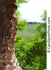 old castle wall and horizon