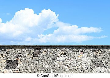 old castle wall with sky