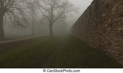 Old Castle walls in misty foggy nature